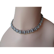 Square Rhinestone Choker Necklace Vintage 1950s Sparkling Evening Wear Jewelry Accessory