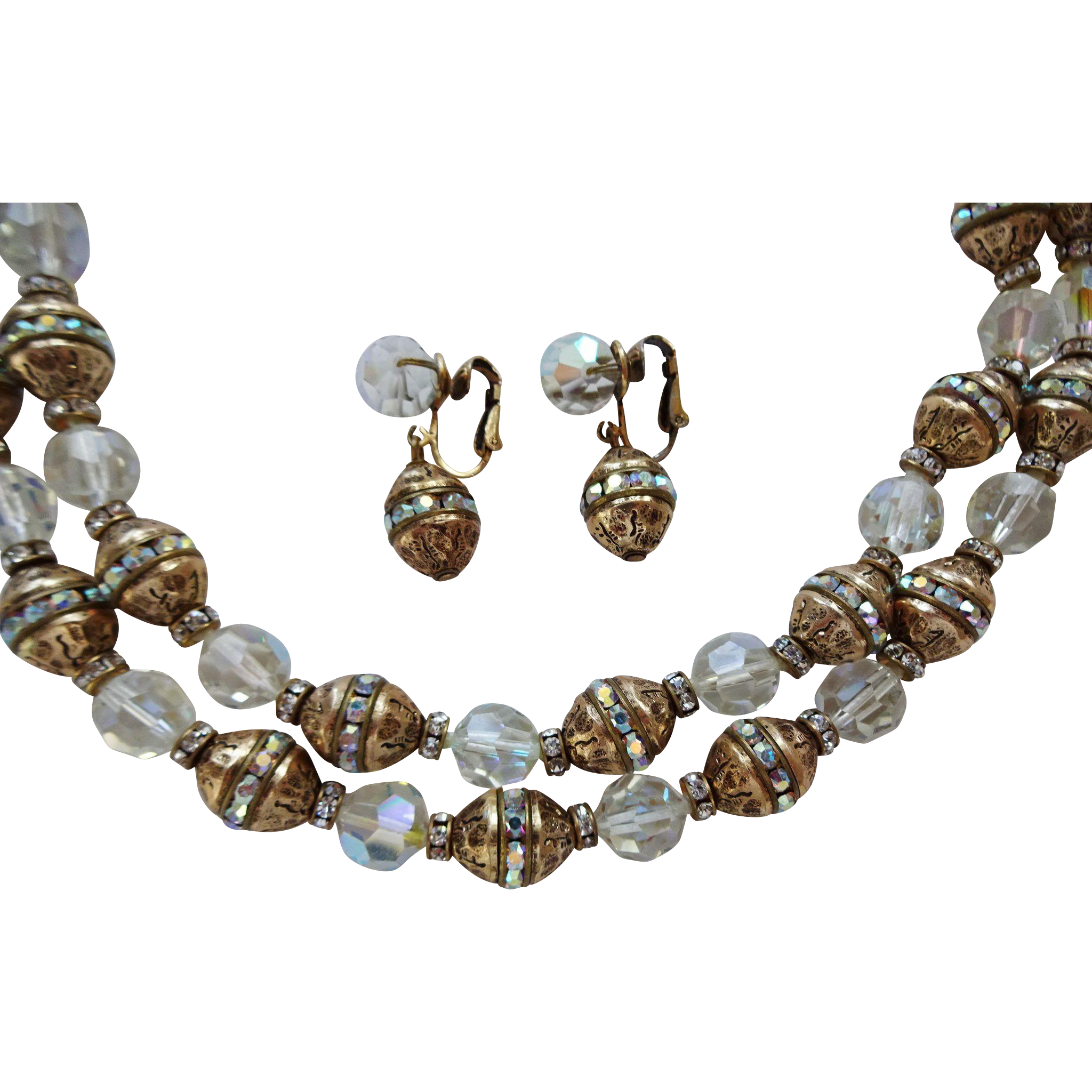 vogue vintage 1950s necklace earrings jewelry set