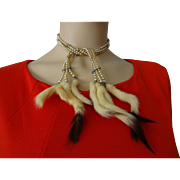 Art Deco Necklace Vintage 1930s Majorica Fine Faux Pearl Rhinestone Ermine Fur Tails