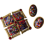 Vintage 1960s Millefiori Jewelry Set Brooch Earrings