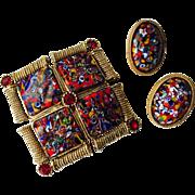 Vintage 1960s Millefiori Jewelry Set Brooch Earrings