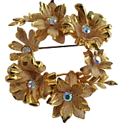 Large Vintage 1940s Austrian Crystal Floral Wreath Pin Brooch