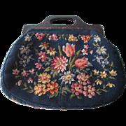 Large Floral Needlepoint Purse Carpet Bag Vintage 1950s Lucite Handles Handbag Navy Flowers