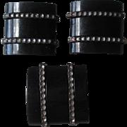 Set 3 Art Deco Bakelite Buttons Vintage 1940s Black Marcasite