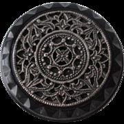 Ornate Black Bakelite Button Vintage 1930s Art Nouveau Metal Filigree Top