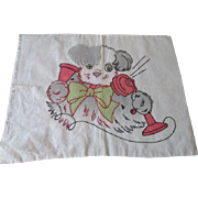 Vintage 1930s Puppy Dog Pillowcase Pillow Top Cover Telephone Hand Painted Embroidery Vogart
