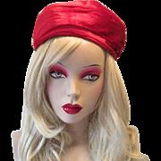 Red Velvet Turban Hat Vintage 1960s Mark III Christmas Holiday Chapeaux