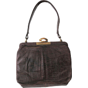 Brown Vintage 1940s Purse Embossed Leather Faux Reptile Snakeskin