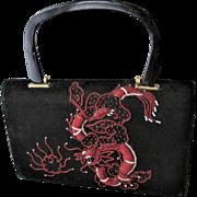 Black Beaded Dragon Purse Handbag Vintage 1940s Kelly Bag