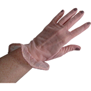 Pinup Pink Gloves Vintage 1950s Sheer Nylon Embroidered Ruffles