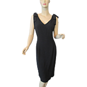 Black Cocktail Dress Vintage 1980s Jessica Howard Sleeveless Bows Evening Special Occasion
