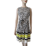 Victor Costa Dress Vintage 1970s Sleeveless Black White Print Yellow Stripes Designer