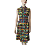 Victor Costa Suzy Perette Dress Vintage 1960s Mod Sleeveless Graphic Print Wiggle