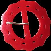 Cherry Red Bakelite Buckle Vintage 1940s Large Scalloped Edges