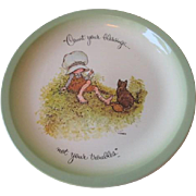 Holly Hobbie Porcelain Plate Vintage 1970s Count Your Blessing Motto