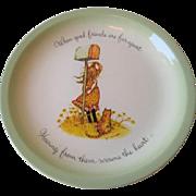Holly Hobbie Friendship Plate Vintage 1970s Porcelain Motto