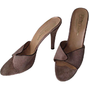 Sexy Stiletto Shoes Mules Sandals Vintage 1970s Tan Brown Suede Leather Elite Colormate Greece