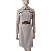 Oleg Cassini Dress Vintage 1960s Tan Wool Brown Suede Leather Designer Peter Pan Collar