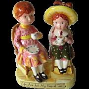 Holly Hobbie Figurine Vintage 1970s Porcelain American Greetings Cup Of Tea
