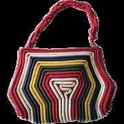 Telephone Cord Purse Vintage 1950s Rainbow Pride Handbag Bag