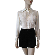 Vintage 1970s Disco Romper Black Velvet Hot Pants Shorts White Lace Tuxedo Blouse Pointed Collar