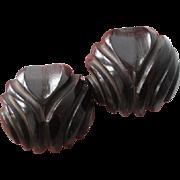 Pair Bakelite Buttons Vintage 1940s Art Deco Brown Deeply Carved Shank