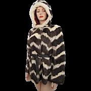 Rabbit Fur Coat Jacket Hood Vintage 1970s Dyed Chevron Stripe Jet Set of California
