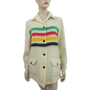Hudson Bay Coat Vintage 1960s Four Stripe Rainbow Shaggy Wool Indian Native American Blanket Jacket