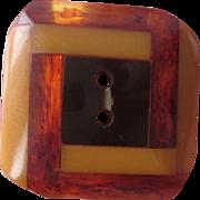 Tri Color Bakelite Button Vintage 1940s Art Deco Black Butterscotch Amber Rootbeer