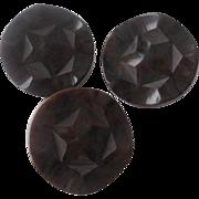 Bakelite Coat Buttons Vintage 1940s Art Deco Deeply Carved Brown Large Set of 3
