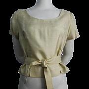 Yellow Silk Blouse Top Belt Vintage 1950s Womens Shirt