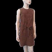 Brown Suede Leather Dress Vintage 1970s Fringe Sleeveless Romper