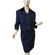 Navy Wool Blue Womens Suit Vintage 1950s Jacket Pencil Skirt Black Velvet New York Label