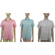 Peter Pan Collar Golf Shirts Vintage 1970s Set 3 Cotton Candy Colors Embroidery