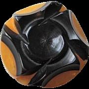 Art Deco Bakeltie Button Vintage 1940s Black Prystal Apple Juice Shank