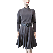 Grey Wool Coat Dress Vintage 1960s Belt Military Style