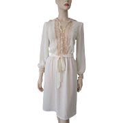 Sheer Romantic Dress Vintage 1970s Ivory Ecru Lace Rose Buttons Belt Miss Ashlee California