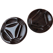 Pair Large Art Deco Bakelite Coat Buttons Vintage 1940s Swirled Brown Rootbeer