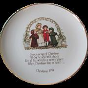 Holly Hobbie Christmas Plate Vintage 1970s Carolers Motto Porcelain Commemorative Edition
