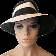 Mod Black White Striped Straw Hat Vintage 1960s Herbert Bernard Designer Chapeaux