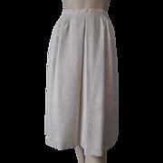 Classic Linen Skirt Vintage 1980s Beige Pockets Below Knee Length
