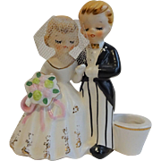 Kitsch Holt Howard Wedding Cake Topper Vintage 1950s Candle Holder Porcelain Bride Groom
