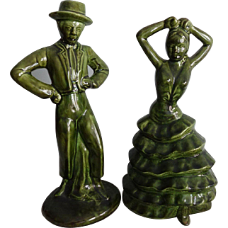 Mid Century Modern Pottery Figurine Vintage 1940s Flamenco Dancers Senior Seniorita Mint Condition