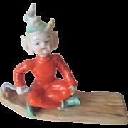 Occupied Japan Pixie Elf Vintage 1940s Ardalt Lenwile China Boat Raft Christmas Display