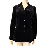 Womens Black Velvet Blazer Jacket Vintage 1970s Bronson of California