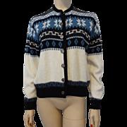 Vintage 1970s Nordic Ski Sweater Cardigan Lady Puritan Sportswear