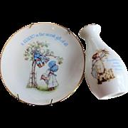 Vintage 1970s Porcelain Holly Hobbie Plate Vase Friendship Collectibles