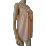 Dead Stock Lorraine Vintage 1950s Peach Nylon Baby Doll Negligee Nightgown Lingerie