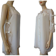 Vintage 1950s White Nylon Peignoir Set Negligee Robe Bows Lace Bridal Wedding