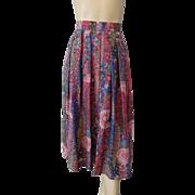 Geiger Tyrol Vintage 1980s Floral Print Midiskirt Skirt Austrian Designer Wool